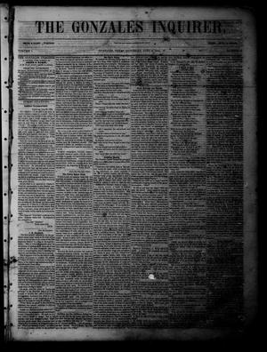 Primary view of object titled 'The Gonzales Inquirer (Gonzales, Tex.), Vol. 1, No. 6, Ed. 1 Saturday, July 9, 1853'.