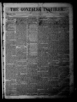 Primary view of object titled 'The Gonzales Inquirer (Gonzales, Tex.), Vol. 1, No. 7, Ed. 1 Saturday, July 16, 1853'.