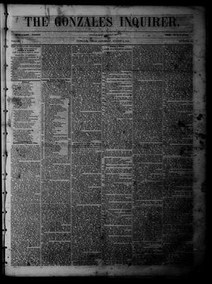 Primary view of object titled 'The Gonzales Inquirer (Gonzales, Tex.), Vol. 1, No. 10, Ed. 1 Saturday, August 6, 1853'.