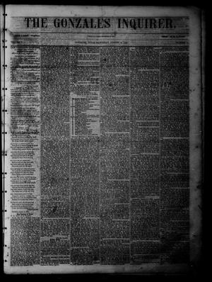 Primary view of object titled 'The Gonzales Inquirer (Gonzales, Tex.), Vol. 1, No. 11, Ed. 1 Saturday, August 13, 1853'.
