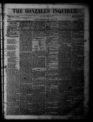 The Gonzales Inquirer (Gonzales, Tex.), Vol. 1, No. 12, Ed. 1 Saturday, August 20, 1853