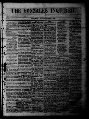 Primary view of object titled 'The Gonzales Inquirer (Gonzales, Tex.), Vol. 1, No. 14, Ed. 1 Saturday, September 3, 1853'.