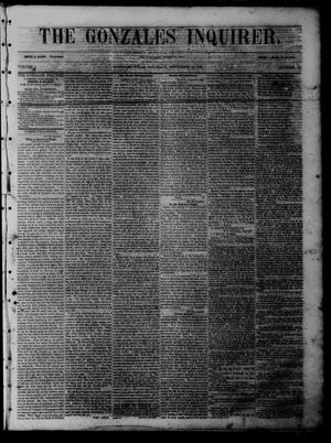 Primary view of object titled 'The Gonzales Inquirer (Gonzales, Tex.), Vol. 1, No. 15, Ed. 1 Saturday, September 10, 1853'.