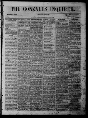 Primary view of object titled 'The Gonzales Inquirer (Gonzales, Tex.), Vol. 1, No. 18, Ed. 1 Saturday, October 1, 1853'.