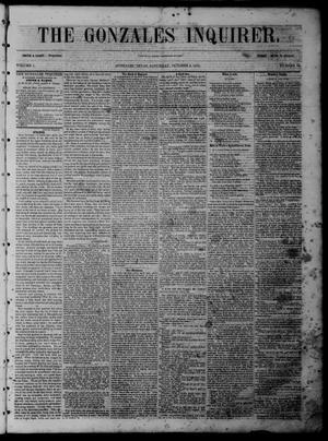 Primary view of object titled 'The Gonzales Inquirer (Gonzales, Tex.), Vol. 1, No. 19, Ed. 1 Saturday, October 8, 1853'.