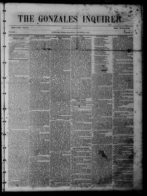 Primary view of object titled 'The Gonzales Inquirer (Gonzales, Tex.), Vol. 1, No. 21, Ed. 1 Saturday, October 22, 1853'.