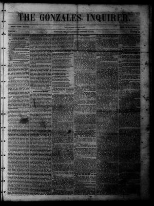 Primary view of object titled 'The Gonzales Inquirer (Gonzales, Tex.), Vol. 1, No. 22, Ed. 1 Saturday, October 29, 1853'.