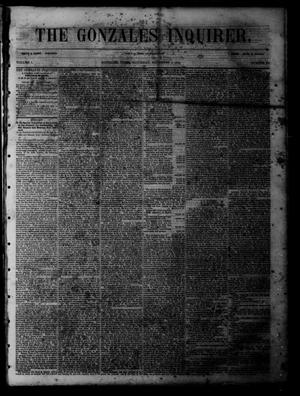 Primary view of object titled 'The Gonzales Inquirer (Gonzales, Tex.), Vol. 1, No. 23, Ed. 1 Saturday, November 5, 1853'.