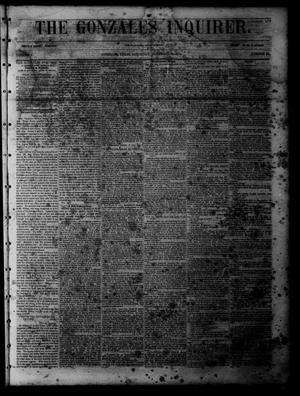 Primary view of object titled 'The Gonzales Inquirer (Gonzales, Tex.), Vol. 1, No. 24, Ed. 1 Saturday, November 12, 1853'.