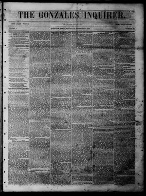 Primary view of object titled 'The Gonzales Inquirer (Gonzales, Tex.), Vol. 1, No. 27, Ed. 1 Saturday, December 3, 1853'.