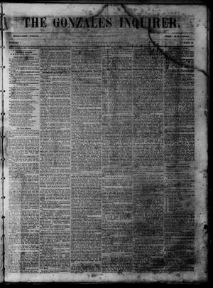 Primary view of object titled 'The Gonzales Inquirer (Gonzales, Tex.), Vol. 1, No. 33, Ed. 1 Saturday, January 14, 1854'.