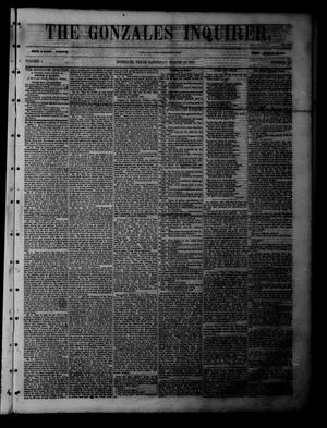 Primary view of object titled 'The Gonzales Inquirer (Gonzales, Tex.), Vol. 1, No. 42, Ed. 1 Saturday, March 18, 1854'.