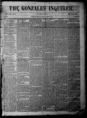 Primary view of object titled 'The Gonzales Inquirer (Gonzales, Tex.), Vol. 1, No. 48, Ed. 2 Saturday, April 29, 1854'.