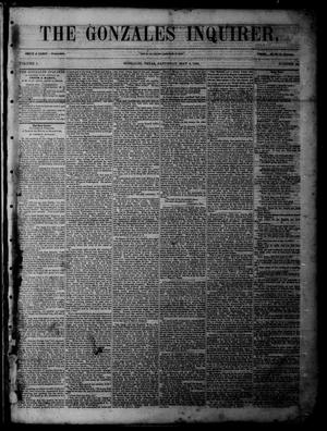 Primary view of object titled 'The Gonzales Inquirer (Gonzales, Tex.), Vol. 1, No. 49, Ed. 1 Saturday, May 6, 1854'.