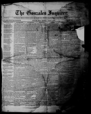 Primary view of object titled 'The Gonzales Inquirer (Gonzales, Tex.), Vol. 3, No. 9, Ed. 1 Saturday, August 11, 1855'.