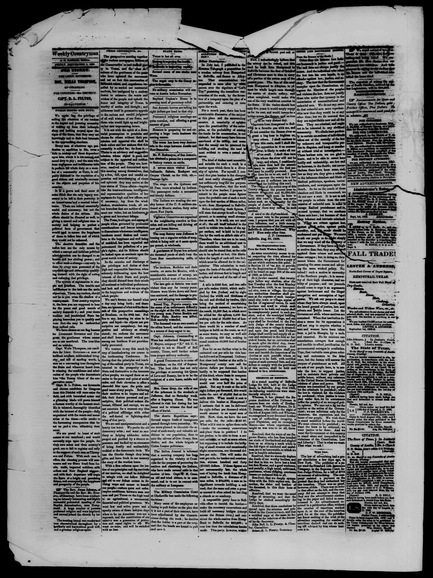 Hempstead Weekly Countryman. (Hempstead, Tex.), Vol. 9, No. 17, Ed. 1 Friday, September 3, 1869                                                                                                      [Sequence #]: 2 of 4