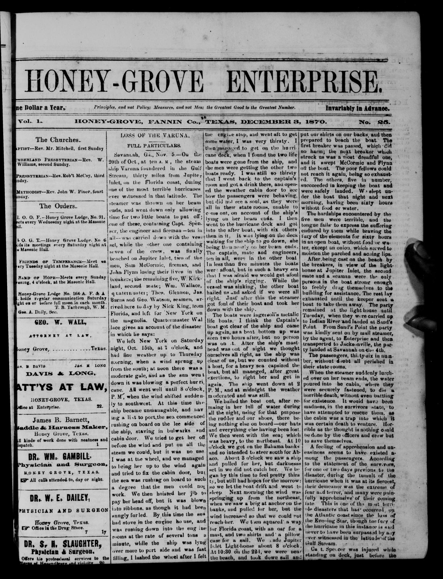 Honey-Grove Enterprise (Honey Grove, Tex.), Vol. 1, No. 25, Ed. 1 Saturday, December 3, 1870                                                                                                      [Sequence #]: 1 of 4