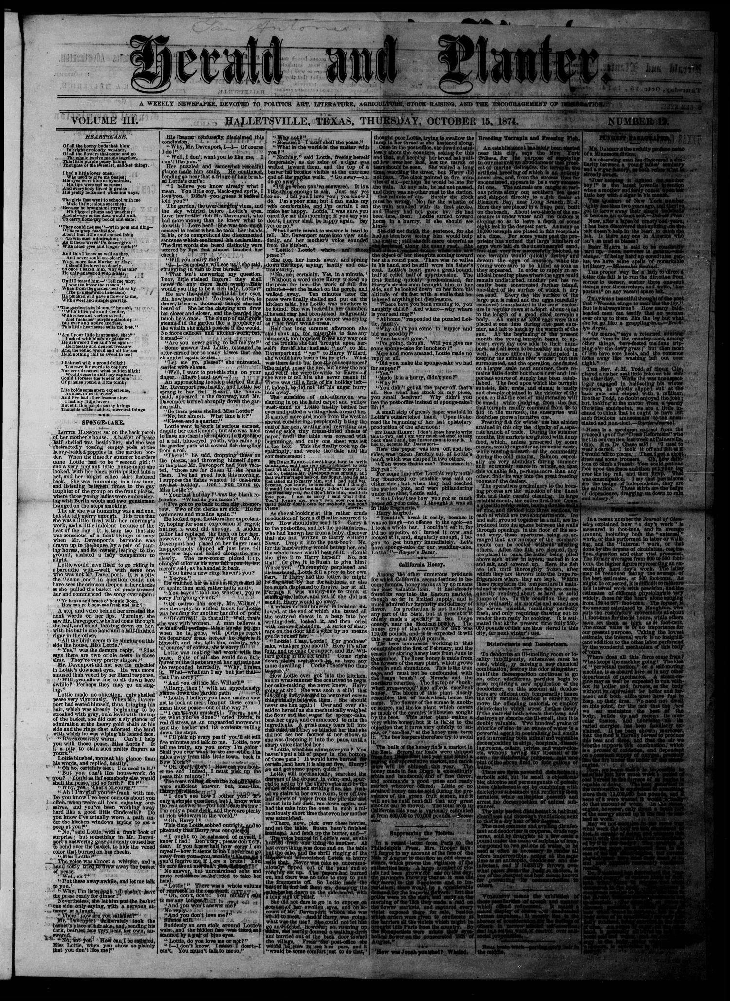 Herald and Planter (Hallettsville, Tex.), Vol. 3, No. 12, Ed. 1 Thursday, October 15, 1874                                                                                                      [Sequence #]: 1 of 4