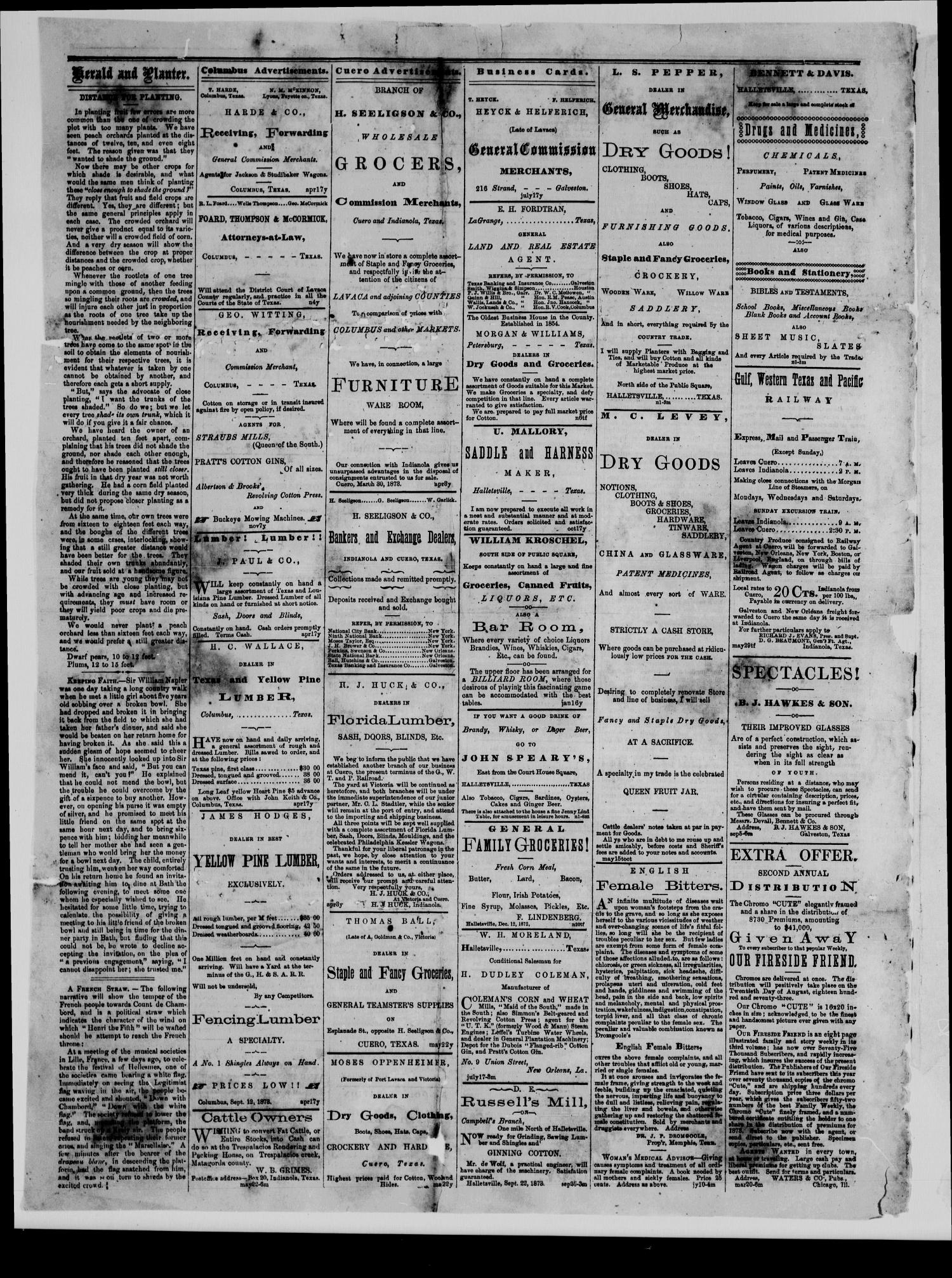 Herald and Planter (Hallettsville, Tex.), Vol. 2, No. 18, Ed. 1 Wednesday, October 23, 1878                                                                                                      [Sequence #]: 4 of 4