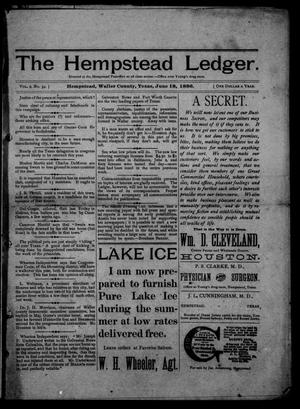 Primary view of object titled 'The Hempstead Ledger (Hempstead, Tex.), Vol. 2, No. 34, Ed. 1 Friday, June 18, 1886'.