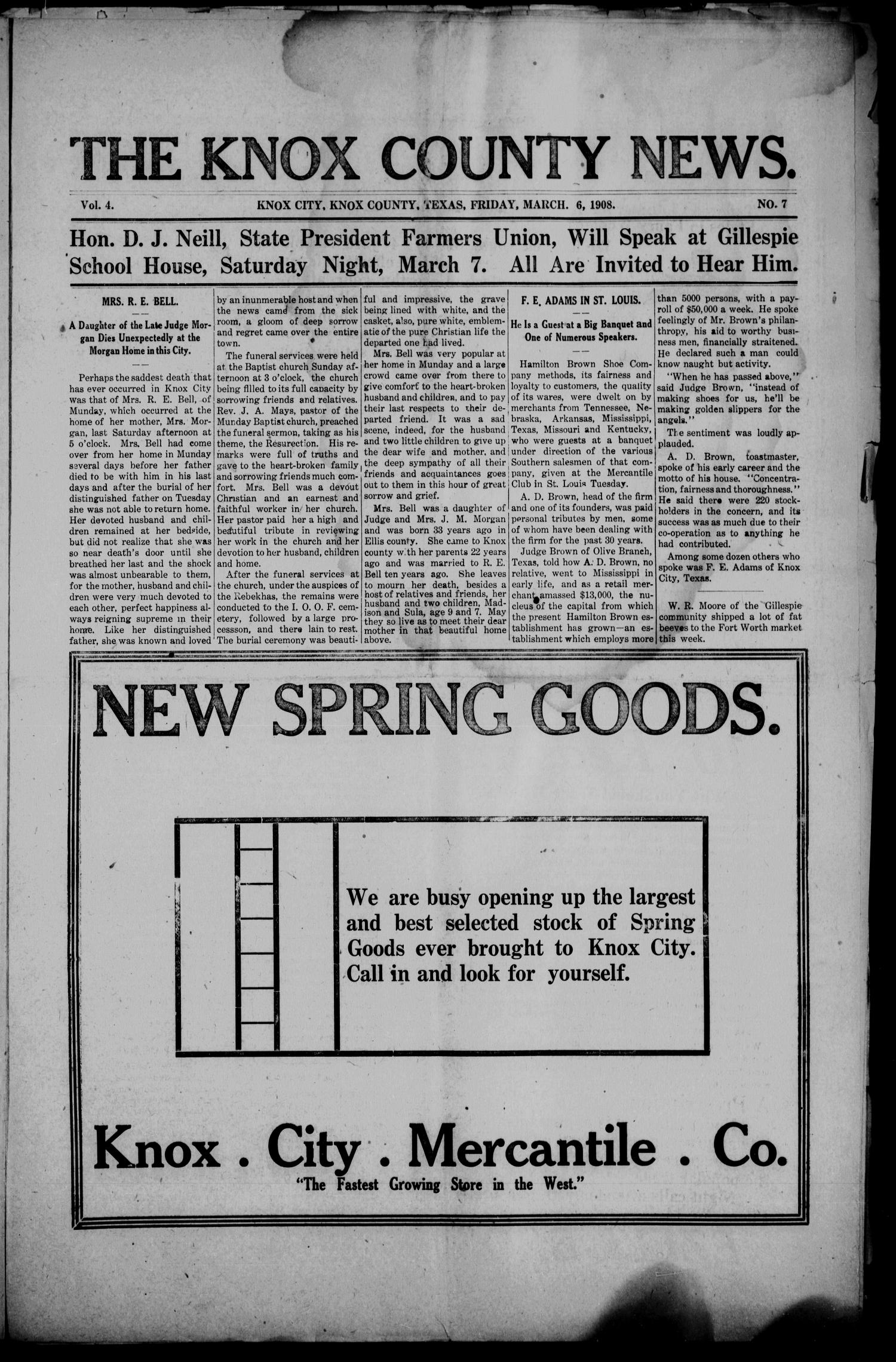 The Knox County News (Knox City, Tex.), Vol. 4, No. 7, Ed. 1 Friday, March 6, 1908                                                                                                      [Sequence #]: 1 of 6