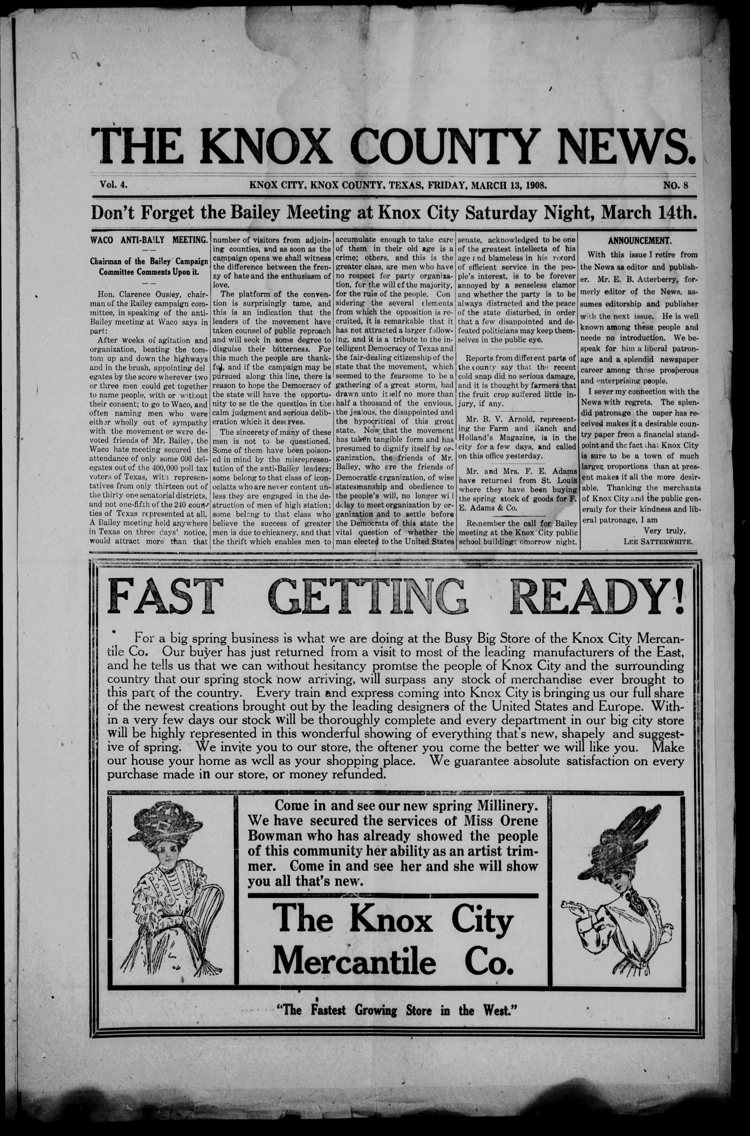 The Knox County News (Knox City, Tex.), Vol. 4, No. 8, Ed. 1 Friday, March 13, 1908                                                                                                      [Sequence #]: 1 of 6