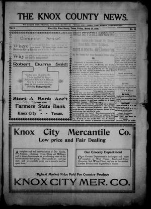 Primary view of object titled 'The Knox County News (Knox City, Tex.), Vol. 5, No. 10, Ed. 1 Friday, March 26, 1909'.