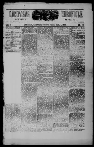 Lampasas Chronicle (Lampasas, Tex.), Vol. 1, No. 14, Ed. 1 Saturday, October 1, 1859