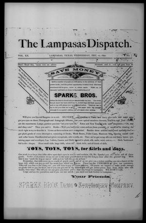 Primary view of object titled 'The Lampasas Dispatch (Lampasas, Tex.), Vol. 20, No. 8, Ed. 1 Wednesday, December 10, 1890'.