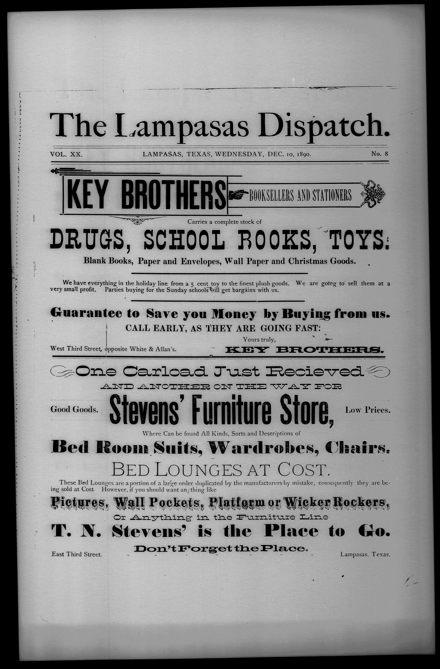 The Lampasas Dispatch (Lampasas, Tex.), Vol. 20, No. 8, Ed. 2 Wednesday, December 10, 1890                                                                                                      [Sequence #]: 1 of 21