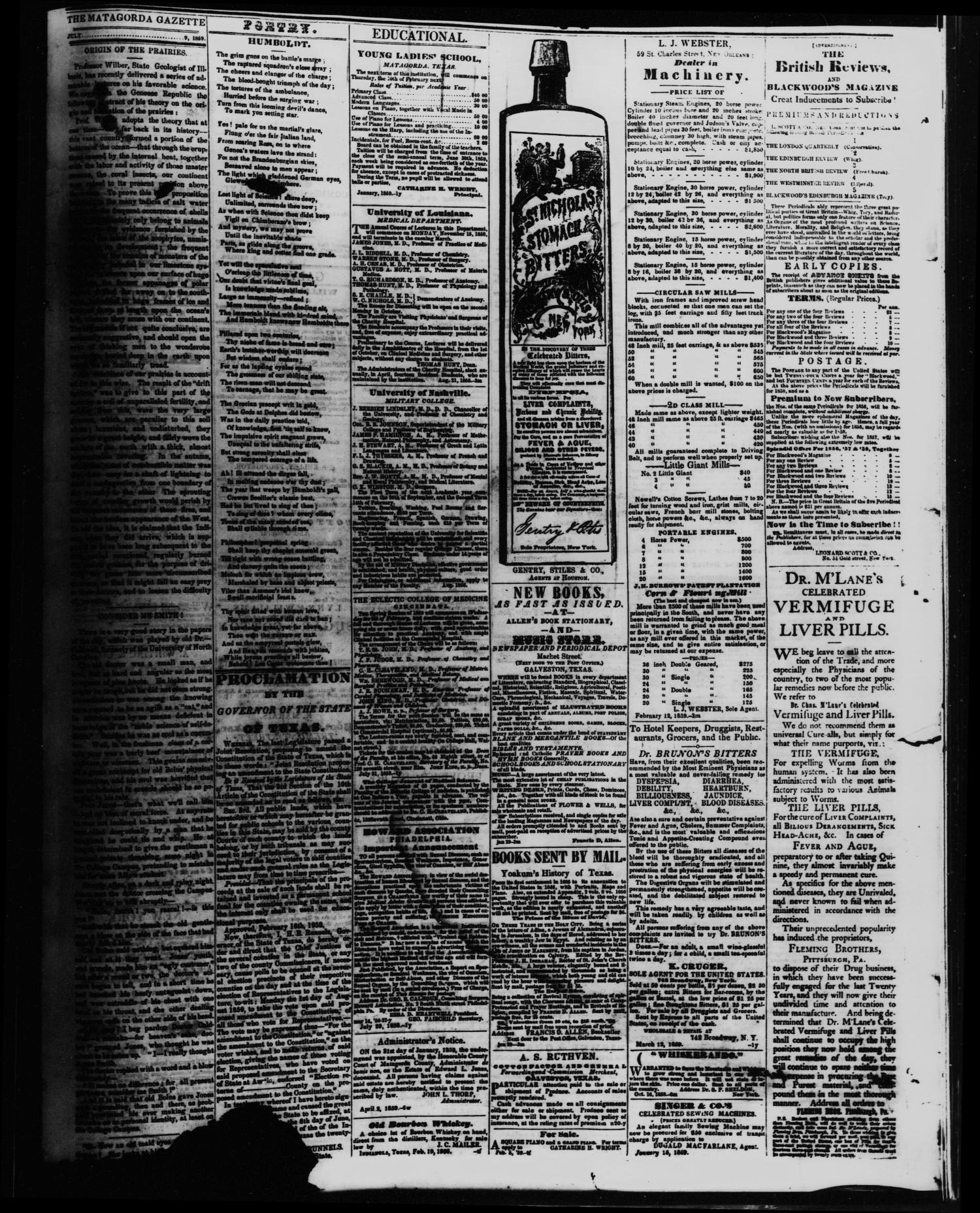 The Matagorda Gazette. (Matagorda, Tex.), Vol. 1, No. 49, Ed. 1 Saturday, July 9, 1859                                                                                                      [Sequence #]: 4 of 4