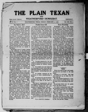 Primary view of object titled 'The Plain Texan and Weatherford Democrat. (Weatherford, Tex.), Vol. 12, No. 3, Ed. 1 Friday, February 9, 1906'.