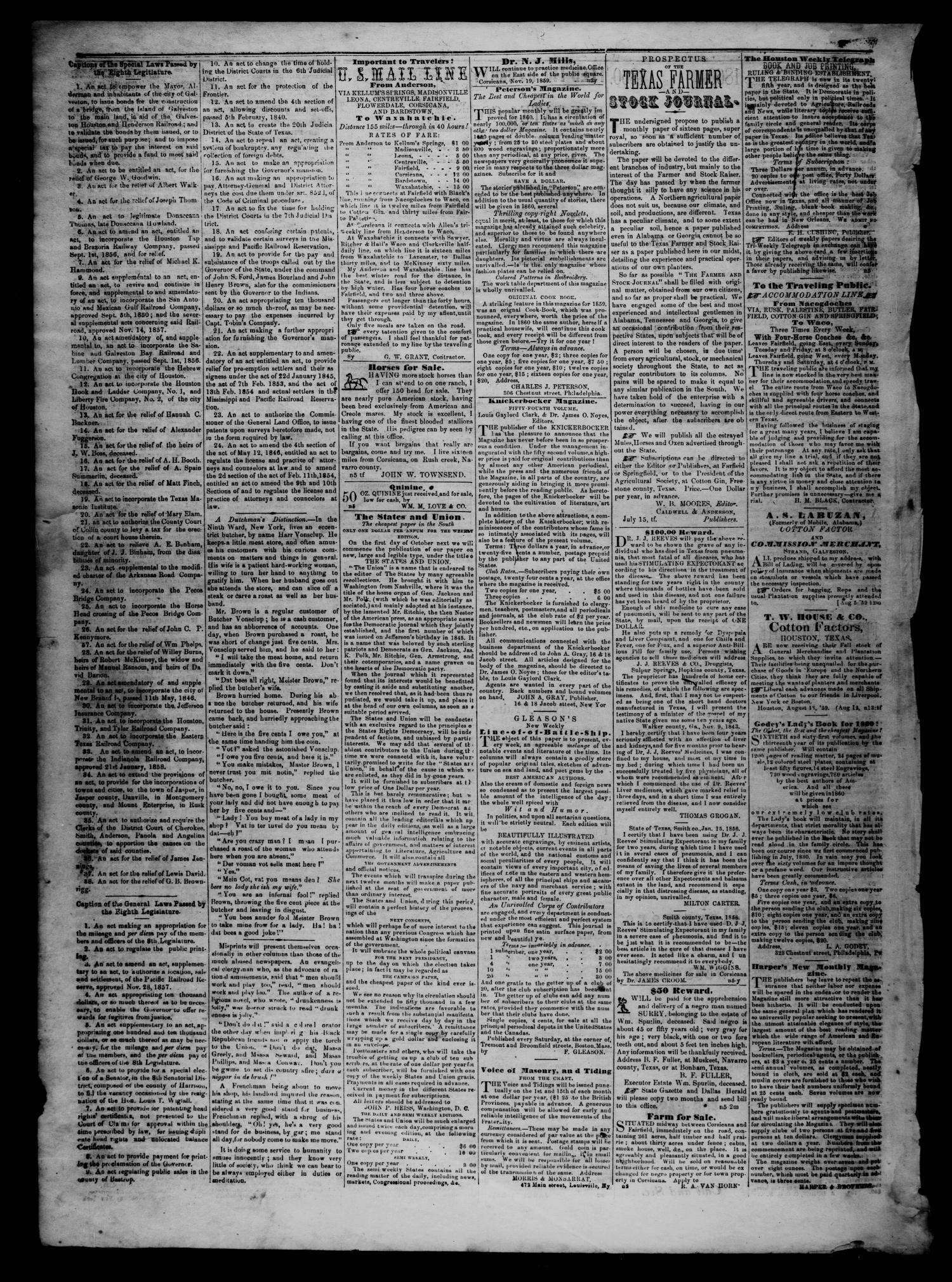 The Navarro Express (Corsicana, Tex.), Vol. 1, No. 11, Ed. 1 Saturday, February 4, 1860                                                                                                      [Sequence #]: 4 of 4