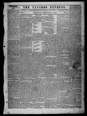 Primary view of object titled 'The Navarro Express (Corsicana, Tex.), Vol. 1, No. 12, Ed. 1 Saturday, February 11, 1860'.