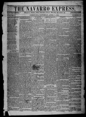 Primary view of object titled 'The Navarro Express (Corsicana, Tex.), Vol. 1, No. 20, Ed. 1 Saturday, April 7, 1860'.