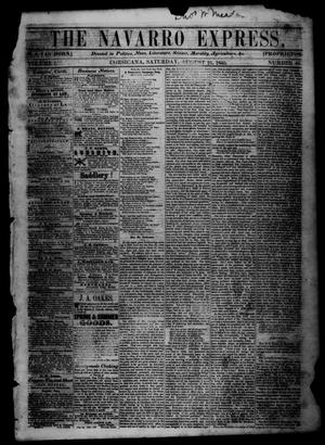 The Navarro Express (Corsicana, Tex.), Vol. 1, No. 40, Ed. 1 Saturday, August 25, 1860