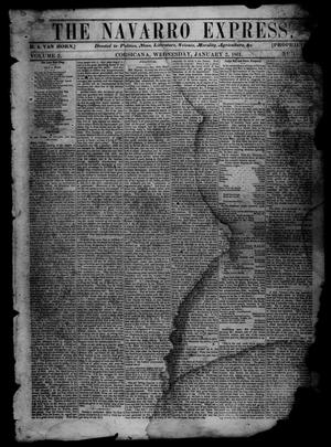 Primary view of object titled 'The Navarro Express (Corsicana, Tex.), Vol. 2, No. [6], Ed. 1 Wednesday, January 2, 1861'.