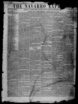 Primary view of object titled 'The Navarro Express (Corsicana, Tex.), Vol. 2, No. 13, Ed. 1 Wednesday, February 20, 1861'.