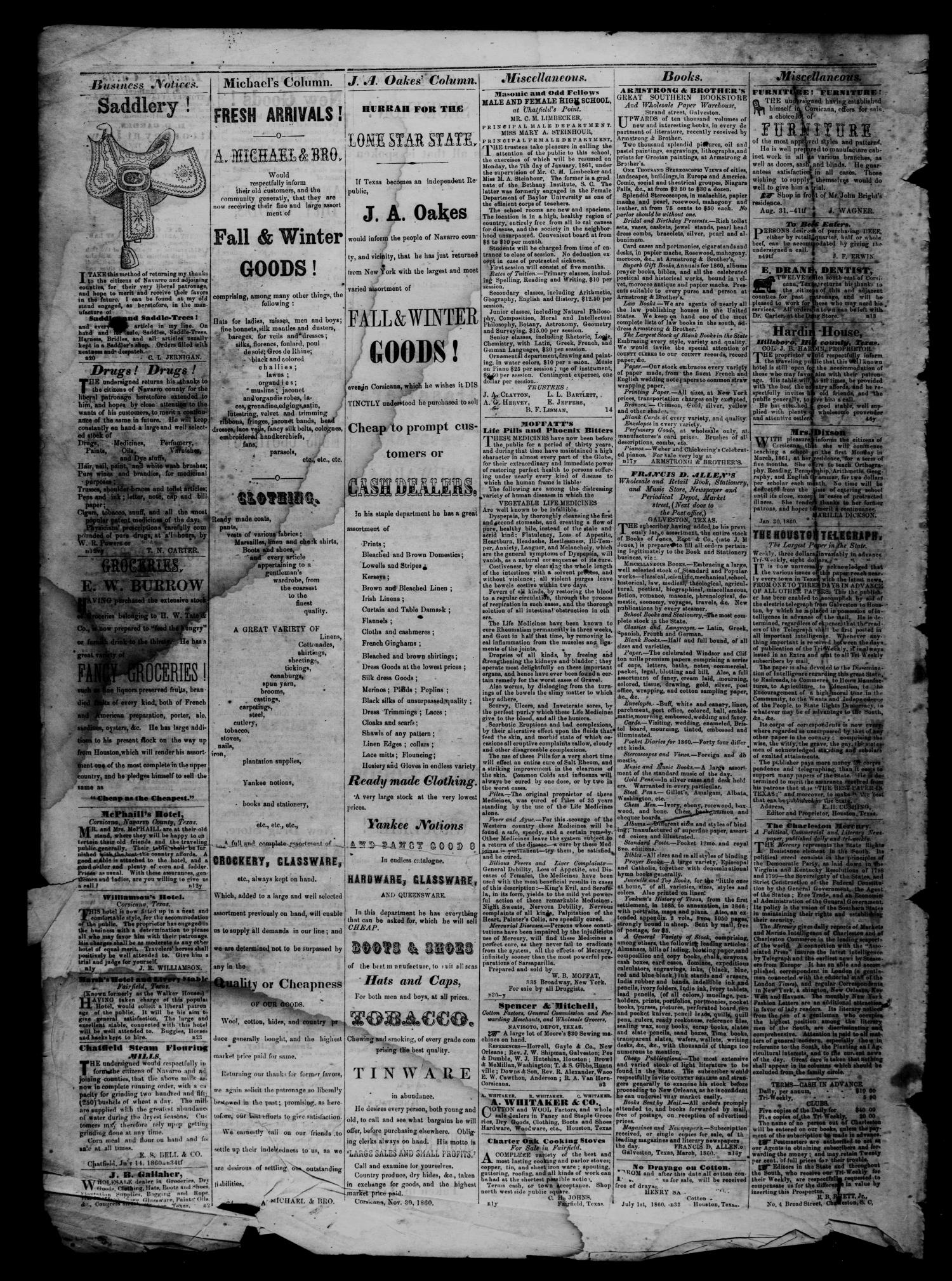 The Navarro Express (Corsicana, Tex.), Vol. 2, No. 16, Ed. 1 Wednesday, March 13, 1861                                                                                                      [Sequence #]: 4 of 4