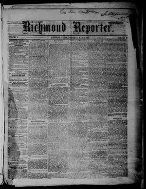 Primary view of object titled 'Richmond Reporter. (Richmond, Tex.), Vol. 1, No. 49, Ed. 1 Saturday, May 9, 1857'.