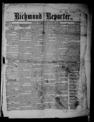 Primary view of object titled 'Richmond Reporter. (Richmond, Tex.), Vol. 3, No. 33, Ed. 1 Saturday, January 29, 1859'.