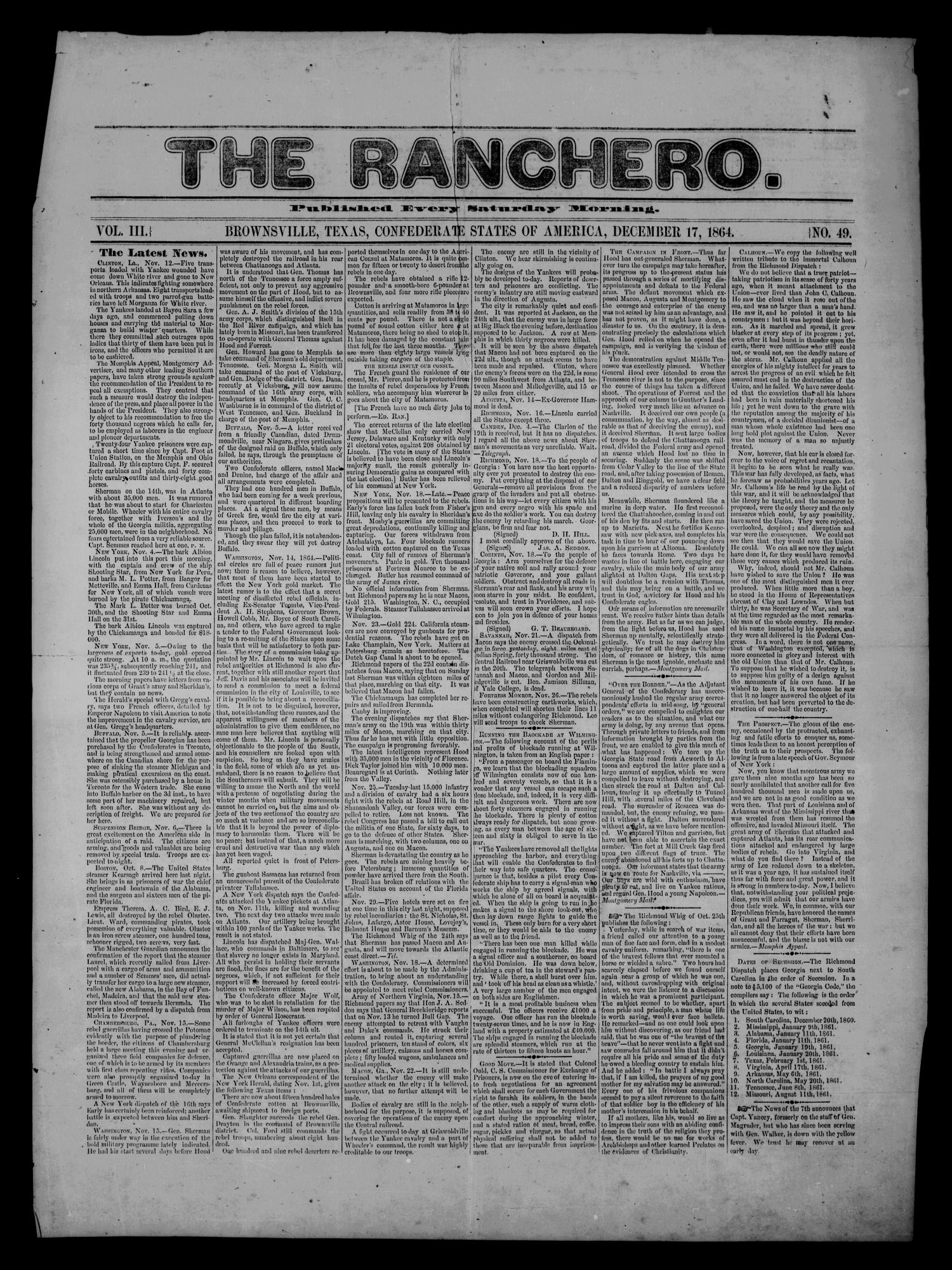 The Ranchero. (Brownsville, Tex.), Vol. 1, No. 49, Ed. 1 Saturday, December 17, 1864                                                                                                      [Sequence #]: 1 of 2