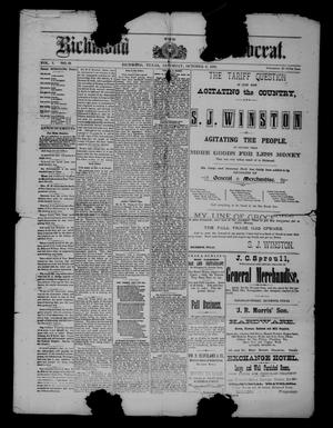 Primary view of object titled 'The Richmond Democrat (Richmond, Tex.), Vol. 1, No. 18, Ed. 1 Saturday, October 6, 1888'.
