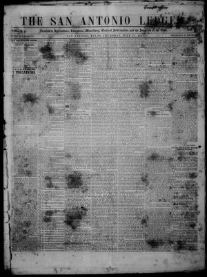 Primary view of object titled 'The San Antonio Ledger. (San Antonio, Tex.), Vol. 2, No. 8, Ed. 1 Thursday, July 17, 1851'.