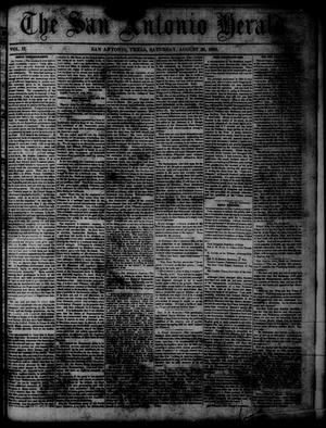 Primary view of object titled 'The San Antonio Herald. (San Antonio, Tex.), Vol. 2, No. 18, Ed. 1 Saturday, August 30, 1856'.