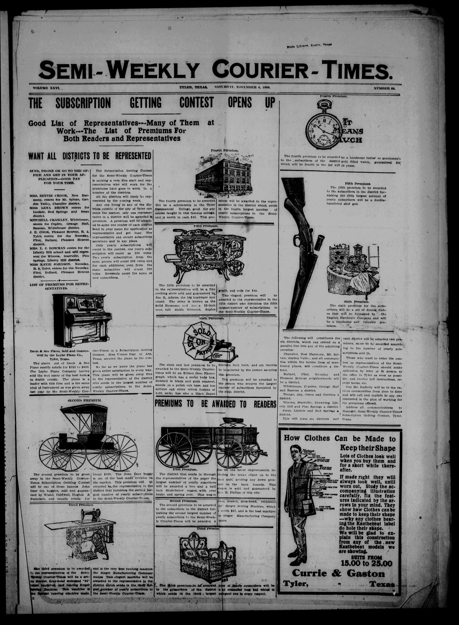 Semi-Weekly Courier-Times. (Tyler, Tex.), Vol. 26, No. 89, Ed. 1 Saturday, November 6, 1909                                                                                                      [Sequence #]: 1 of 8