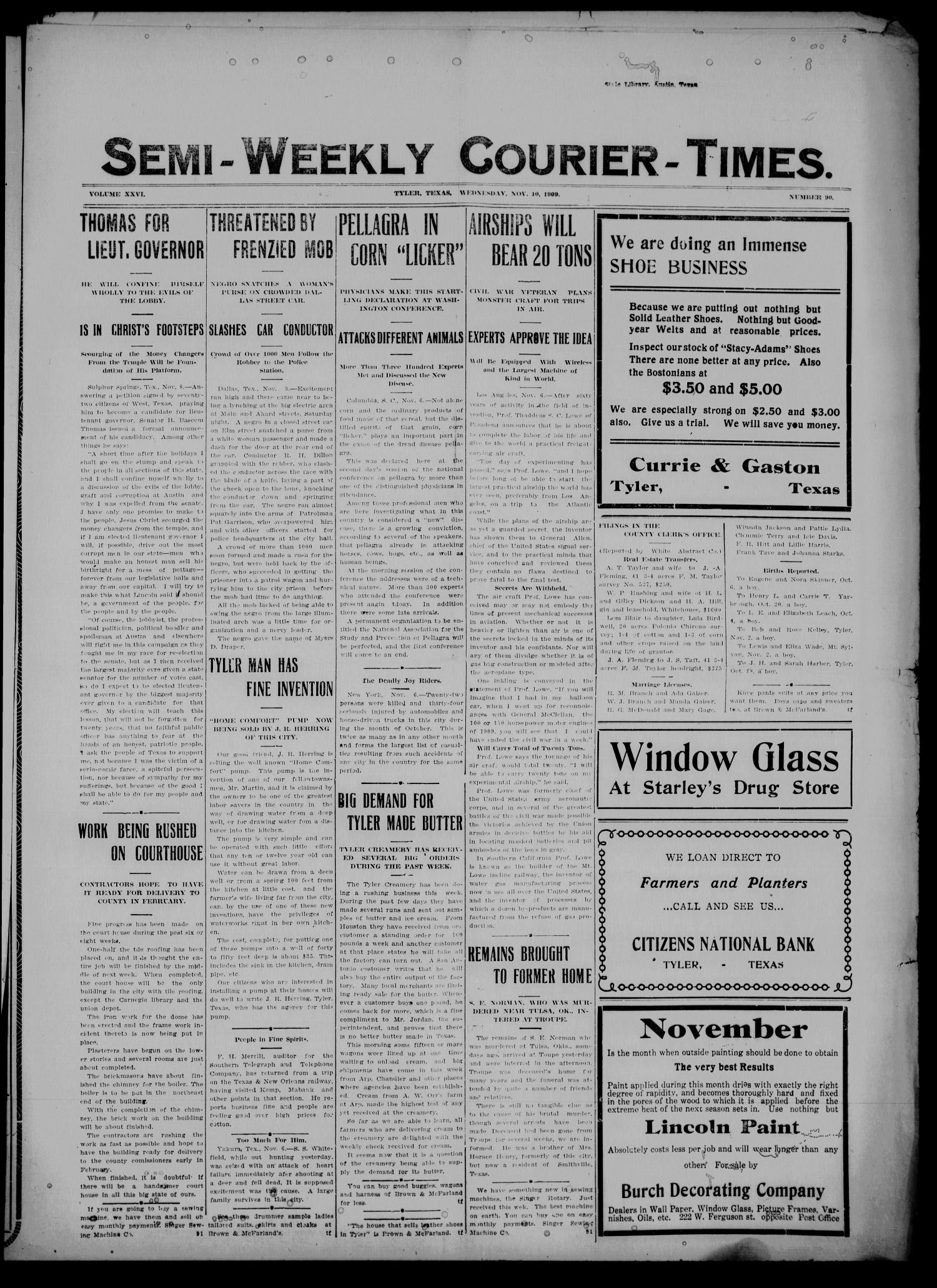 Semi-Weekly Courier-Times. (Tyler, Tex.), Vol. 26, No. 90, Ed. 1 Wednesday, November 10, 1909                                                                                                      [Sequence #]: 1 of 8