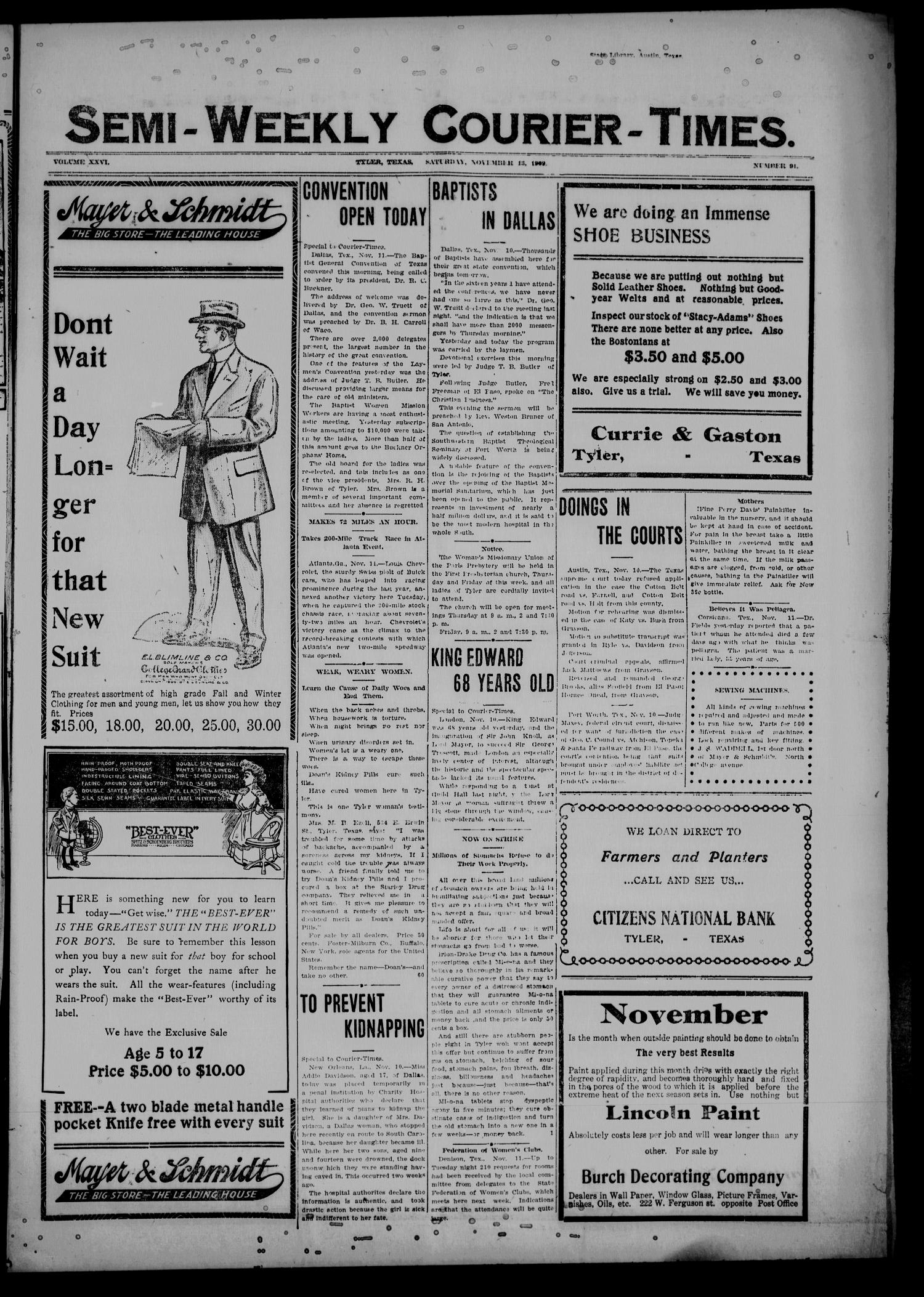 Semi-Weekly Courier-Times. (Tyler, Tex.), Vol. 26, No. 91, Ed. 1 Saturday, November 13, 1909                                                                                                      [Sequence #]: 1 of 8