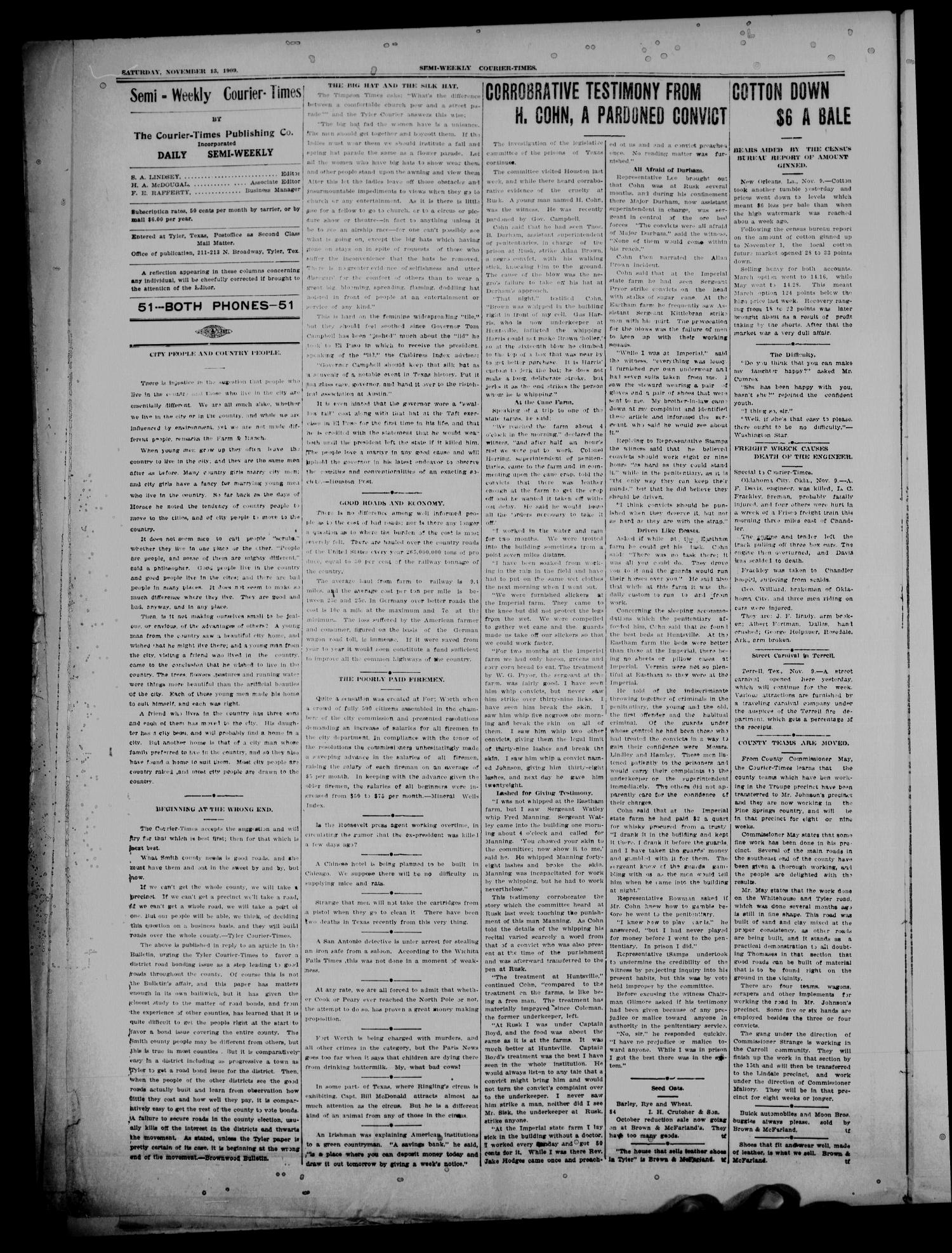 Semi-Weekly Courier-Times. (Tyler, Tex.), Vol. 26, No. 91, Ed. 1 Saturday, November 13, 1909                                                                                                      [Sequence #]: 2 of 8