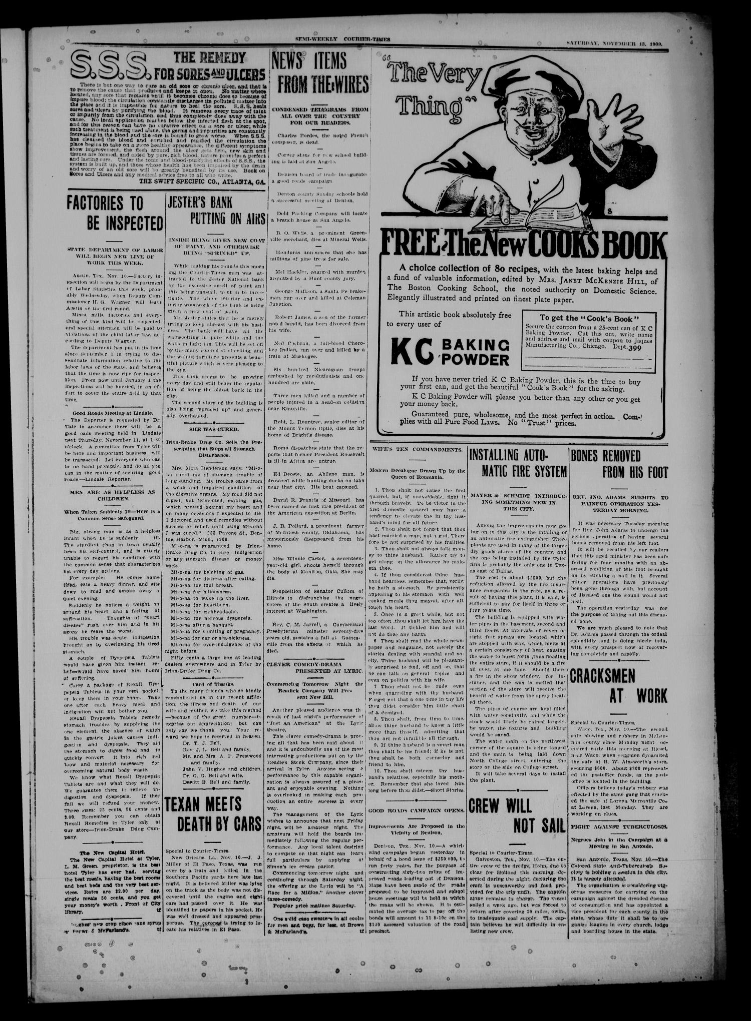 Semi-Weekly Courier-Times. (Tyler, Tex.), Vol. 26, No. 91, Ed. 1 Saturday, November 13, 1909                                                                                                      [Sequence #]: 3 of 8